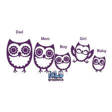 OWL STICK FAMILY Family Vinyl Sticker Cute Owls for car truck window mirror