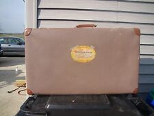 Vtg. Fiber Suitcase w/ CLE GLE Frenchline Cruise Baggage Sticker and Pin