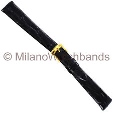 14mm Band-It Genuine Crocodile Black Unstitched Ladies Watch Band