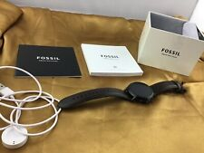 Fossil Gen 5 Smartwatch 44mm Stainless Steel-Black with Brown Leather Ban—Used