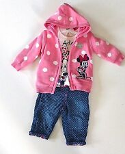 Girl's 3 Piece Minnie Mouse Set-Hooded Cardigan, Top & Trousers- Age 0-3 Mos NEW