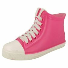 LADIES PINK ANKLE FESTIVAL WELLIES PVC SPLASH BOOTS COMFY CASUAL SHOES SIZES 3-8