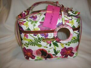 Betsey Johnson Bow Train Case Bag & Mirror Travel Makeup Cosmetics Weekend NEW
