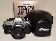 NIKON FG 35mm SLR Film Camera w/1.8 50mm E Lens Tested Meter Working w/Case Plus