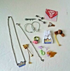 ASSORTED DOLL ACCESSORIES ~ HAIR DRYER, NECKLACE & BAG, RINGS, CARD, ETC.