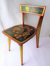 VINTAGE OLD USSR RUSSIAN  WOODEN HAND PAINTED CHILDREN KIDS CHAIR