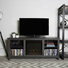 Fireplace TV Stand Space Heater Center Grey Cabinet Shelving Media Storage