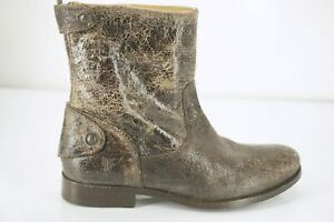 Frye Melissa Short Zip Ankle Boot Size 5.5 Brown Aged Leather Button Distressed
