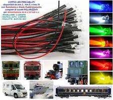 COPPIA n.2 LED CABLATI mm.5 COLORE ROSSI a 12Vcc TRENI ELETTRICI e MODELLISMO