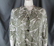 Retro Style Caftan Free Size fits up to 3X Vintage Green Paisley Free Necklace