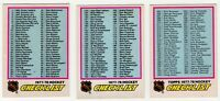 1977 78 LOT OF 3 UNMARKED CHECKLISTS OPC HOCKEY CARD #68 #249 #381 TOPPS ERROR