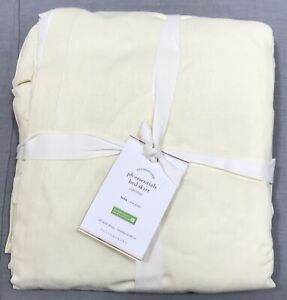 """Pottery Barn Ivory Essential Cotton Linen Twin Bed Skirt 18"""" Drop"""