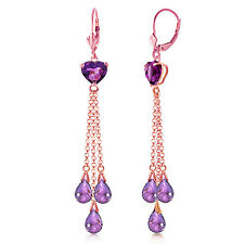14K Solid Rose Gold Chandelier Earrings with Briolette Amethyst