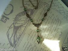 VINTAGE Stile Vittoriano Peridot Verde e Bronzo Collana Steampunk