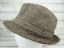 Biltmore Fedora Canada Harris Tweed Brown Wool Brimmed Hat Knockabout