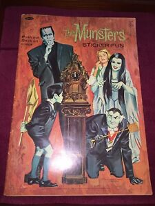 1965 Kayro-Vue Productions Push Out Stick On Color THE MUNSTERS STICKER FUN