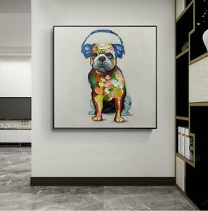 """YA300 Modern Wall Decor Hand-painted oil painting Lovely Animal Music dog 20"""""""