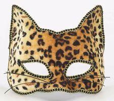 Venetian Masquerade Party Half Mask Sexy Cat Leopard Animal Print Cheetah Deluxe