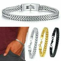 Silver Men's Punk Stainless Steel Chain Link Bracelet Wristband Bangle Jewelry