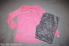 Womens Pajama Set PINK HENLEY Gray Leopard Print SOFT FLEECE Mink Like M 8-10