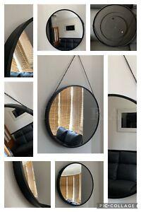 44cm Round Black Hanging Wall Mirror Wall Mount Industrial Style Round Mirror
