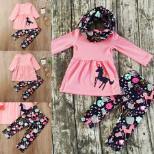 New Toddler Baby Girls Long Sleeve Tops Dress Floral Pants Outfits Clothes 2-7T