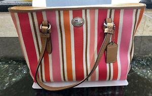 Coach Multi Stripe Peyton Top Handle Bag Purse