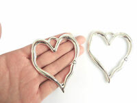 2 x Tibetan Silver Large Open Heart Charms Pendants For Necklace Making Findings