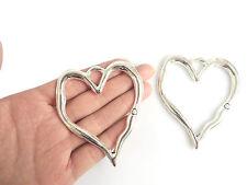 5 x Large Open Heart Tibetan Silver Charms Pendants Jewellery Findings 79x67mm