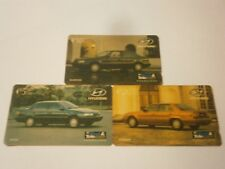 3x FIJI PHONECARDS HYUNDAI $5 EXCEL, $10 ELANTRA, $20 SONATA 1993 LOT -FREE POST
