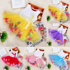 Baby Kids Girl Princess Pageant Party Tutu Dress Lace Bow Flower Tulle Skirt Purple XL