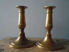 Pair Vintage Heavy Brass Candlesticks with Oval Bases - 16cm high