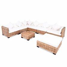 vidaXL Loungeset Natuurlijk Rattan 27-delig Lounge Set Terrasmeubel Tuin Set