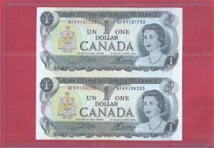 Canada 1 Dollar 1973 Uncut 2-In-1 (UNC) BFK 9151753 BFK 9154253