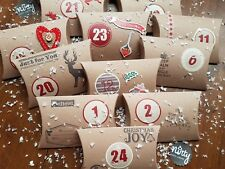 HANDMADE RUSTIC CHRISTMAS ADVENT CALENDAR × 24 PILLOW BOXES , SWEETS, GIFTS.