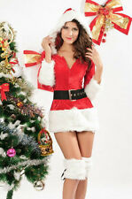 Sexy Santa Outfit/Christmas Mini Dress Short/Petite Size 10/12 with Boot Cuffs