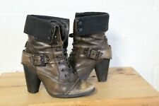BROWN LEATHER STEAMPUNK VICTORIAN STYLE ANKLE BOOTS SIZE 4 / 37 BY RIVER ISLAND