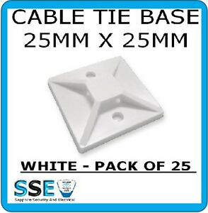 Cable Tie Base  Self Adhesive - 25mm x 25mm Pack of 25 ( White)