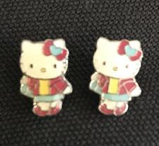 Hello Kitty Full body Pierced Earrings 2007 Sanrio Pink Blue Yellow Dress Bow