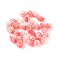100pcs Synthetic Coral Stone Beads Rose Flower Carved Tiny Loose Spacers 6.5mm