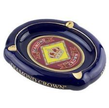Diamond Crown Cobalt Blue w/ Gold Trim Ceramic 3-Cigar Ashtray - Oval - Large