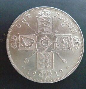 UK 1919 FLORIN HIGH GRADE GEORGE V BRITISH SILVER FLORIN ref SPINK 4012 Cc1