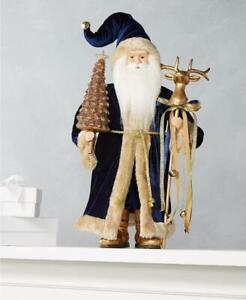 "Holiday Lane Midnight Blue Santa With Reindeer & Tree Figurine 18"" H"