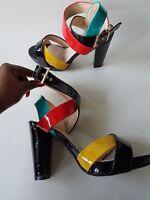 womens sandals ankle cross strap Multi coloured platform chunky heels size UK 5