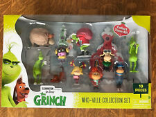NEW Dr Seuss The GRINCH Who-Ville 10 PC Figurine Collection Set