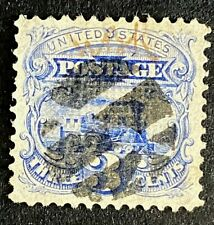 US Stamps, Scott #114 3c 'used' Pictorial Issue of 1869 VF/XF. Nice full cancel.