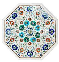 """18"""" Multi Stone Floral Marquetry Inlay Marble Top Coffee Table Patio Decors W009"""