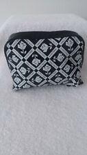 PRETTY!! LANCOME BLACK/WHITE ROSE DESIGN COSMETIC BAG EMPTY
