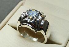 Moissanite Rare 2.1 Carat Diamond Mens Ring Sterling Silver 925 Handmade Ring