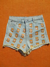 BART SIMPSONS Shorts Jeans Denim Washed Grunge Taille Haute High Waist Women
